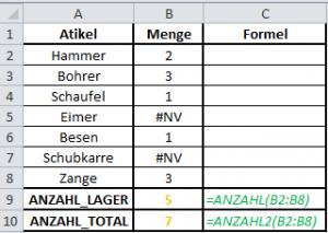 Excel Formel Anzahl
