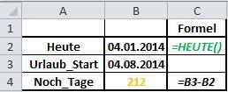 Excel Formel HEUTE
