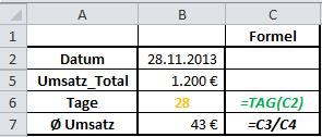 Excel Formel TAG