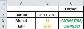Excel Formeln TAG,MONAT,JAHR