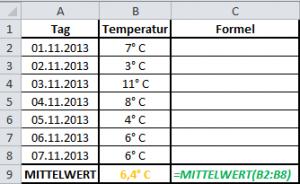 Excel Formel MITTELWERT