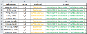 Excel Formel WENN