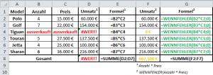 Excel Formel WENNFEHLER